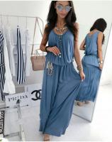 Платье длинное с поясом синее S29