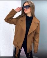 Куртка под кожу удлиненная карамель ZI NG