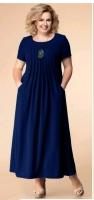 Платье длинное SIZE PLUS лайт темно-синее RH122