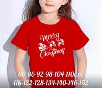 Детская футболка красная Merry Cristmas Xi