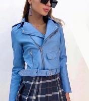 Куртка экокожа с кармашком и ремнем голубая ZI DT124 Новая цена