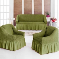 Натяжные чехлы на мягкую мебель диван и 2 кресла green