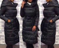 Болоневое пальто с капюшоном и пояском черное ZI 124