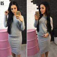 Костюм кофта и юбка ангорка св-серый OP37