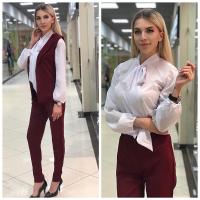 Костюм тройка жакет, брюки и блуза бордо RH122