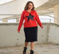 Костюм со звездой SIZE PLUS юбка и кофта красная RH06
