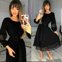 Платье барби плиссерованный низ кружево черное KH110