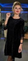 Платье люрекс песок SIZE PLUS черное B47