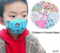 Детская маска многоразовая с рисунком спандекс