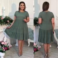 Платье колокольчик Size Plus хаки RXA233.6