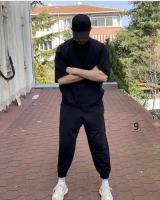Мужской костюм футболка и брюки черный D6-55