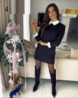 Платье с манжетами и белым воротничком черное RH06