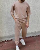 Мужской костюм футболка и брюки бежевый D6-55