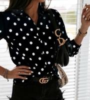 Рубашка в горошек с кармашком черная A116