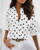 Рубашка в горошек с кармашком белая A116