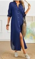 Платье длинное на пуговках легкая джинса тем-синее KH110