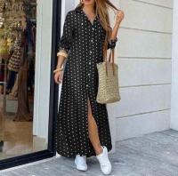 Платье длинное на пуговках софт в горошек KH110