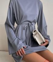 Платье с пояском серое O114