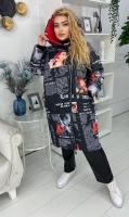 Удлиненная куртка SIZE PLUS в стиле pop-art KSU