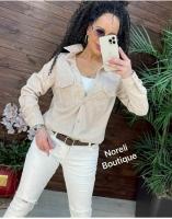 Рубашка вельветовая с кармашками бежевая b116