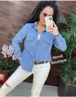 Рубашка вельветовая с кармашками голубая b116