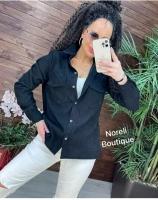 Рубашка вельветовая с кармашками черная b116