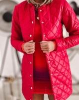Удлиненная стеганая куртка красная A116