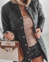 Удлиненная стеганая куртка черная A116