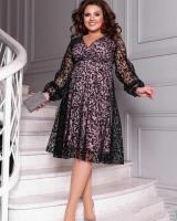 Платье SIZE PLUS гипюр на подкладке розовое RH106