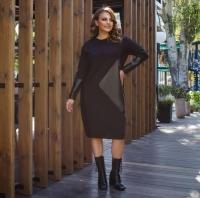 Платье SIZE PLUS трикотаж с черной вставкой под кожу RH06