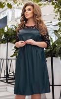 Платье SIZE PLUS верх сетка, низ под кожу зеленое KH110