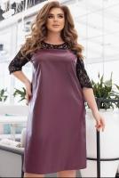 Платье SIZE PLUS верх сетка, низ под кожу бордо KH110