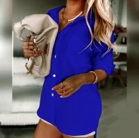 Блузка лайт с вырезом на спине синяя A116