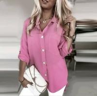 Блузка лайт с вырезом на спине розовая A116