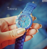 Часы с силиконовым ремешком Geneva lite blue